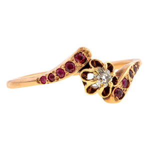 Antique Diamond & Ruby Bypass Ring sold by Doyle and Doyle an antique and vintage jewelry boutique