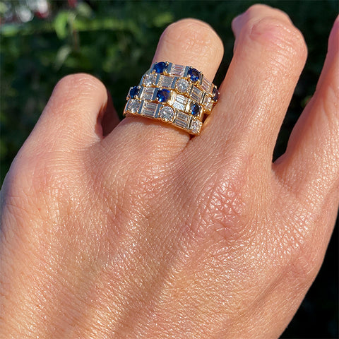 Estate Sapphire & Diamond Four Ring Stack sold by Doyle and Doyle an antique and vintage jewelry boutique