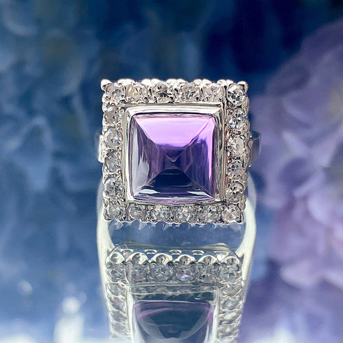 Vintage Sugarloaf Amethyst & Diamond Ring sold by Doyle and Doyle an antique and vintage jewelry boutique