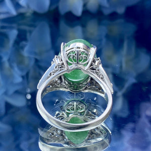 Vintage Oval Jadeite Jade & Diamond Ring sold by Doyle and Doyle a vintage and antique jewelry boutique.