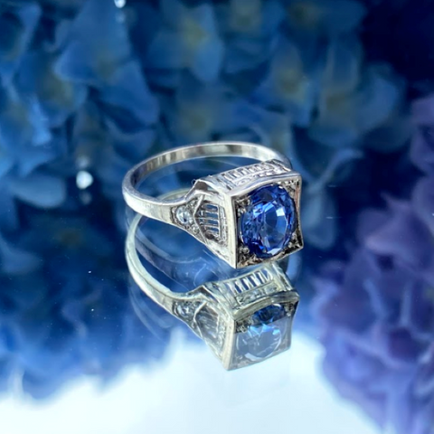 Art Deco Sapphire & Diamond Ring sold by Doyle and Doyle an antique and vintage jewelry boutique