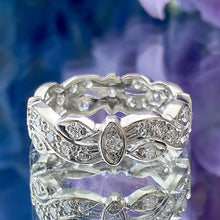 Vintage Patterned Diamond Eternity Band sold by Doyle and Doyle an antique and vintage jewelry boutique