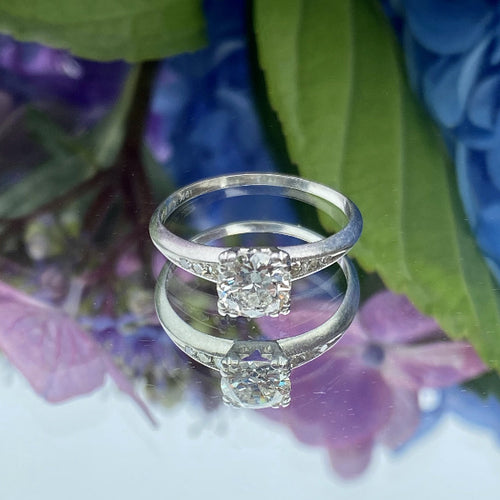 Vintage Engagement Ring, RBC 0.75ct.