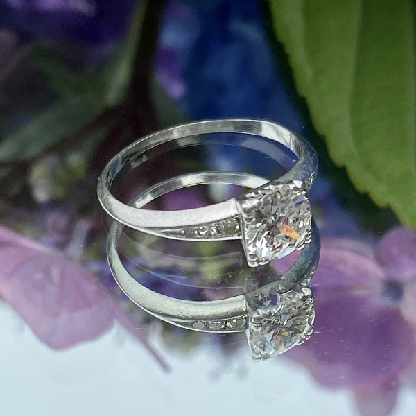 Vintage Engagement Ring, RBC 0.75ct. sold by Doyle & Doyle an antique and vintage jewelry boutique.