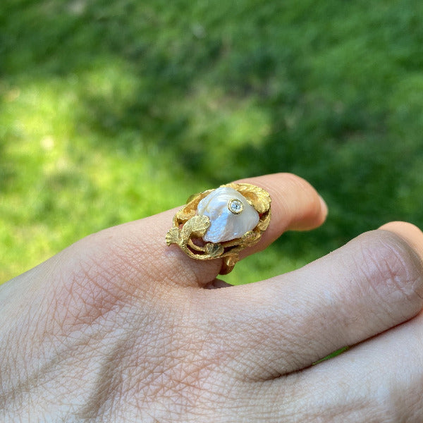 Art Nouveau Baroque Pearl & Diamond Ring sold by Doyle and Doyle an antique and vintage jewelry boutique.