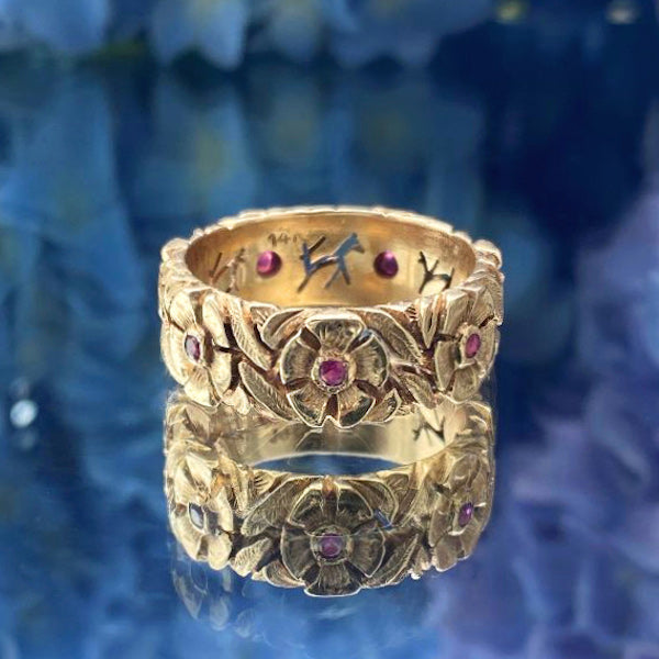 Vintage gold flower and ruby band ring from Doyle & Doyle