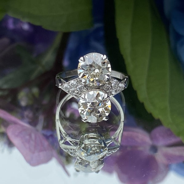 Antique French Toi et Moi Engagement Ring sold by Doyle & Doyle an antique and vintage jewelry boutique.