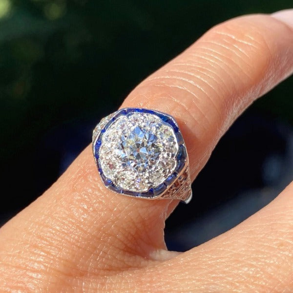 Vintage Diamond and Sapphire Engagement Ring in platinum from Doyle & Doyle in New York 110845R