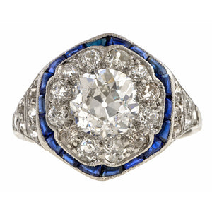 Vintage Diamond & Sapphire Engagement Ring, Old Euro 1.05ct sold by Doyle and Doyle an antique and vintage jewelry boutique