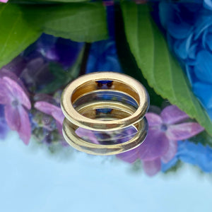 Vintage Gypsy Set Cabochon Sapphire Ring sold by Doyle and Doyle an antique and vintage jewelry boutique.