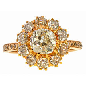 Vintage Diamond Cluster Ring, 1.30ct. sold by Doyle & Doyle an antique and vintage jewelry boutique.