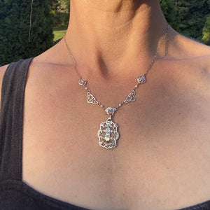 Art Deco Filigree Diamond & Pearl Necklace sold by Doyle & Doyle an antique and vintage jewelry boutique.