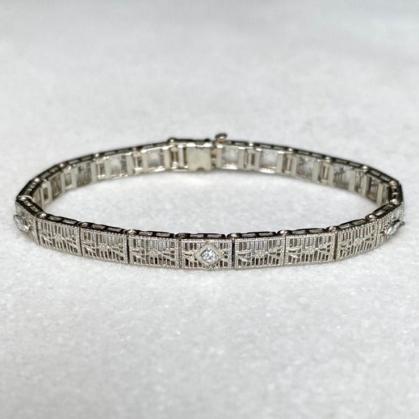 Art Deco Filigree Diamond Bracelet, from Doyle & Doyle antique and vintage jewelry boutique.