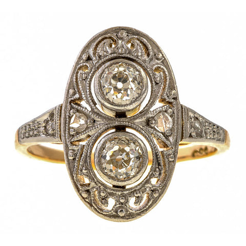 Vintage Twin Stone Dinner Ring sold by Doyle and Doyle an antique and vintage jewelry boutique