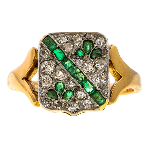 Vintage Emerald & Diamond Coat of Arms Ring sold by Doyle & Doyle an antique and vintage jewelry boutique.