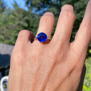 Estate Bulgari Sapphire & Diamond Ring sold by Doyle and Doyle an antique and vintage jewelry boutique