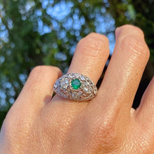 Art Deco Emerald & Diamond Filigree Ring sold by Doyle & Doyle an antique and vintage jewelry boutique.