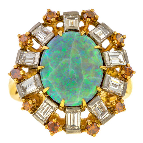 Vintage Opal Diamond & Citrine Ring sold by Doyle and Doyle an antique and vintage jewelry boutique