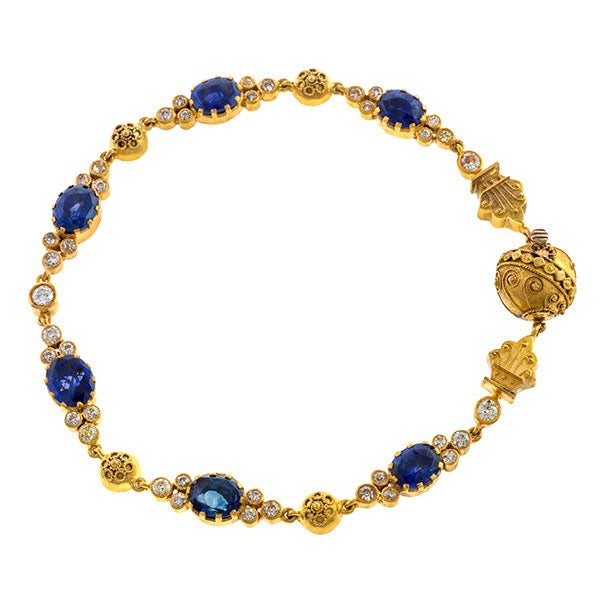 Antique Sapphire & Diamond Bracelet sold by Doyle and Doyle an antique and vintage jewelry boutique
