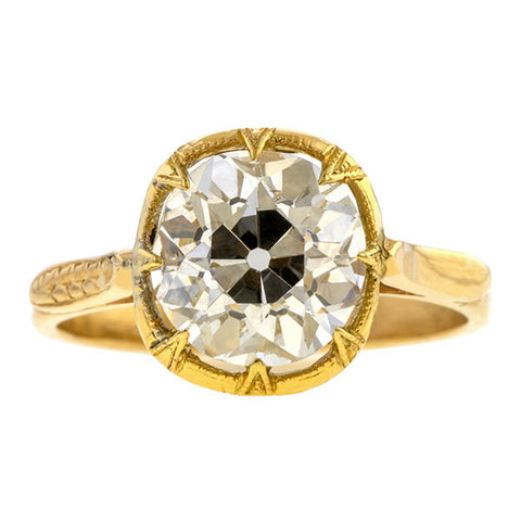 Vintage Diamond Engagement Ring, Old Euro 2.91ct. sold by Doyle & Doyle an antique and vintage jewelry boutique.
