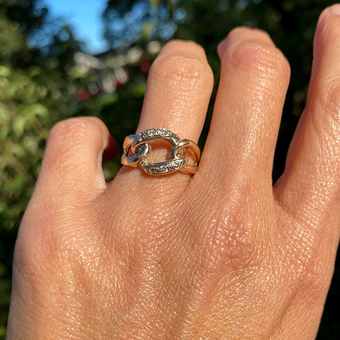 Vintage Diamond Link Ring sold by Doyle and Doyle an antique and vintage jewelry boutique