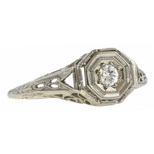 Vintage Diamond Ring, Old Euro 0.10ct sold by Doyle and Doyle an antique and vintage jewelry boutique