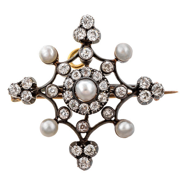 Antique Pearl & Diamond Pin/ Pendant sold by Doyle & Doyle an antique and vintage jewelry boutique.