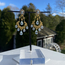 Estate Aquamarine, Citrine & Diamond Drop Earrings sold by Doyle and Doyle an antique and vintage jewelry boutique