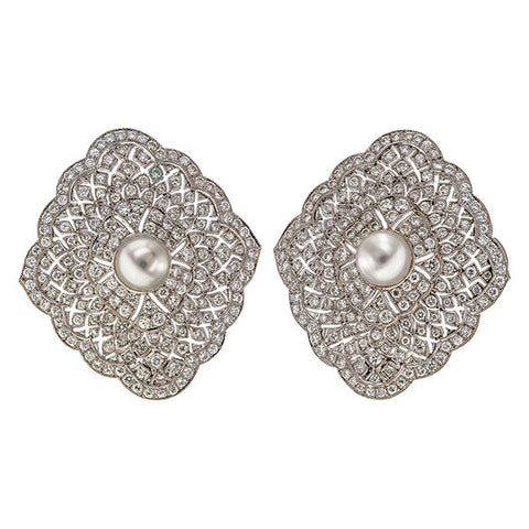 Estate Filigree Pearl & Diamond Earrings sold by Doyle and Doyle an antique and vintage jewelry boutique