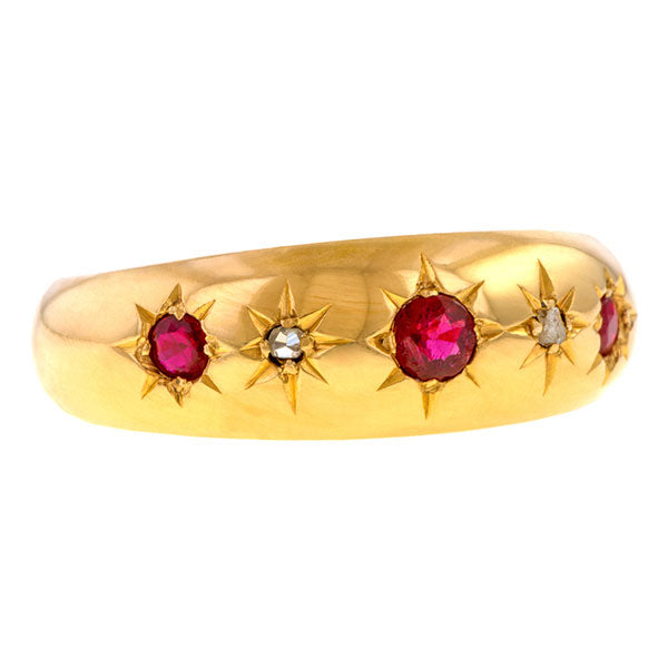 Antique Ruby & Diamond Band sold by Doyle and Doyle an antique and vintage jewelry boutique