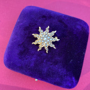 Antique Pearl Starburst Pin sold by Doyle and Doyle an antique and vintage jewelry boutique