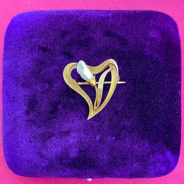 Art Nouveau Pearl Heart Pin sold by Doyle and Doyle an antique and vintage jewelry boutique
