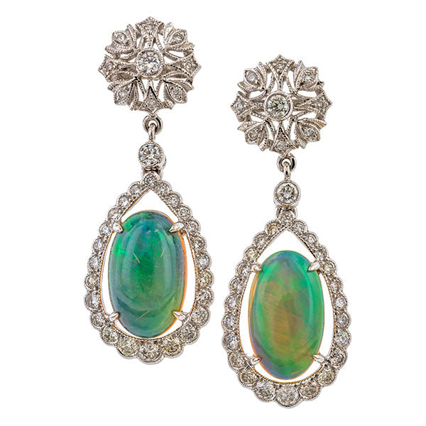 Vintage Opal & Diamond Drop Earrings sold by Doyle and Doyle an antique and vintage jewelry boutique