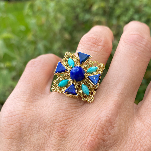 Vintage Turquoise & Lapis Ring sold by Doyle and Doyle an antique and vintage jewelry boutique