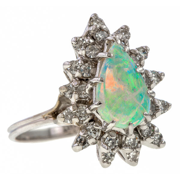 Vintage Pear Opal Cabochon & Diamond Ring sold by Doyle and Doyle an antique and vintage jewelry boutique
