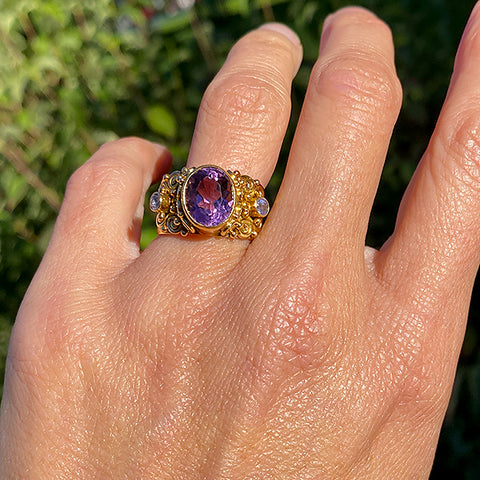 Antique Amethyst Ring sold by Doyle and Doyle an antique and vintage jewelry boutique