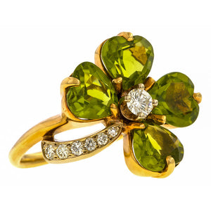 Vintage Peridot & Diamond Clover Ring sold by Doyle and Doyle an antique and vintage jewelry boutique