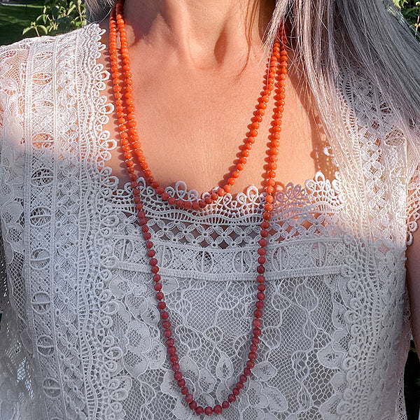 Antique Coral Bead Necklace sold by Doyle and Doyle an antique and vintage jewelry boutique