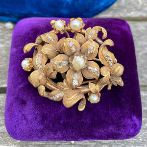Antique Pearl & Diamond Floral Brooch sold by Doyle and Doyle an antique and vintage jewelry boutique