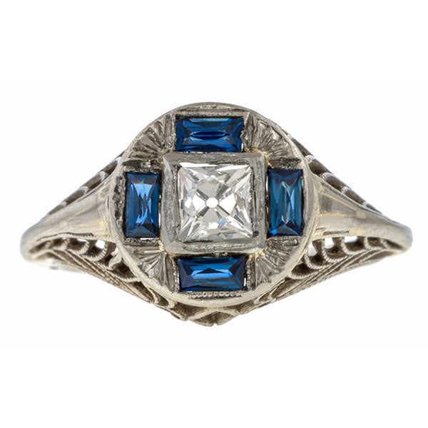 Art Deco Diamond Ring, Peruzzi cut sold by Doyle and Doyle an antique and vintage jewelry boutique