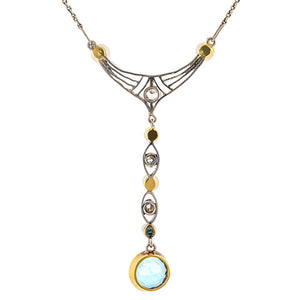 Edwardian Aquamarine Pearl & Diamond Necklace sold by Doyle and Doyle an antique and vintage jewelry boutique