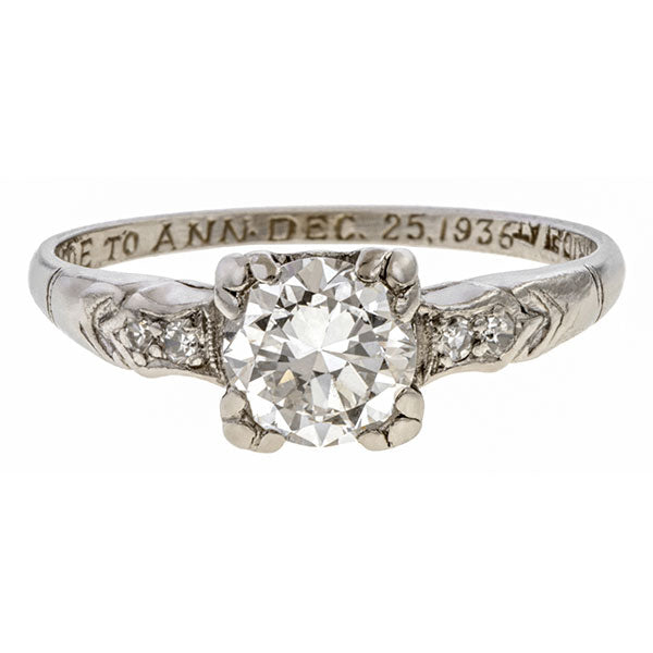 Art Deco Diamond Engagement Ring, 0.67ct sold by Doyle and Doyle an antique and vintage jewelry boutique