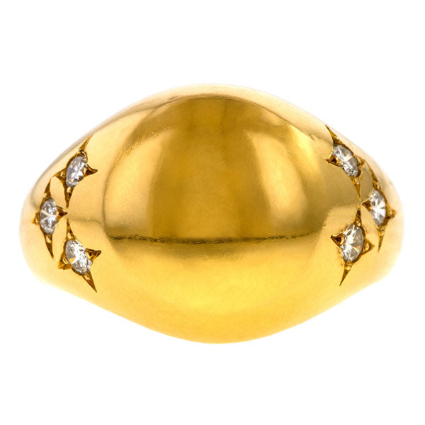 Vintage Chaumet Diamond Signet Ring sold by Doyle and Doyle an antique and vintage jewelry boutique