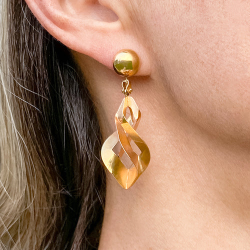 Vintage Gold Drop Earrings sold by Doyle and Doyle an antique and vintage jewelry boutique