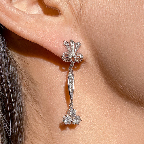 Vintage Diamond Drop Earrings sold by Doyle and Doyle an antique and vintage jewelry boutique