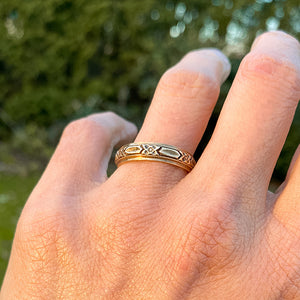 Vintage Patterned Wedding Band sold by Doyle and Doyle an antique and vintage jewelry boutique