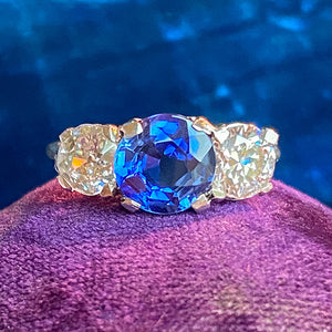 Antique Sapphire & Diamond Ring sold by Doyle and Doyle an antique and vintage jewelry boutique
