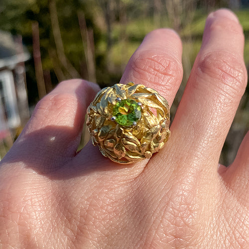 Vintage Peridot Leaf Ring sold by Doyle and Doyle an antique and vintage jewelry boutique
