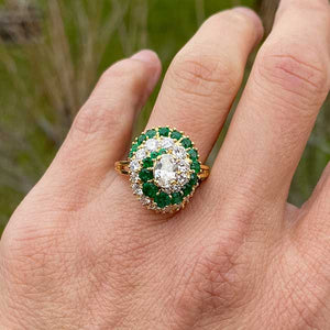 Diamond & Emerald Ring, Oval 0.50ct. sold by Doyle and Doyle an antique and vintage jewelry boutique