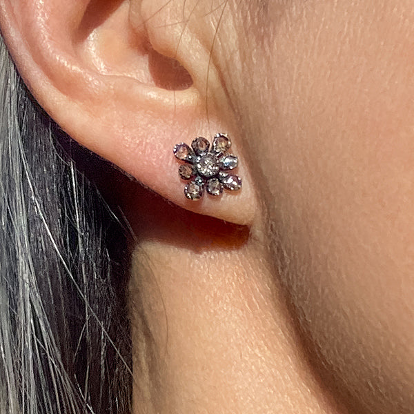 Antique Rose Cut Diamond Earrings sold by Doyle and Doyle an antique and vintage jewelry boutique